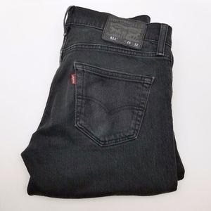 LEVI STRUASS Black Denim Jeans Men